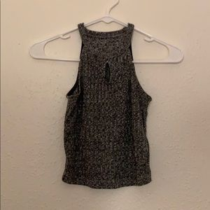 gray sweater keyhole crop top size s